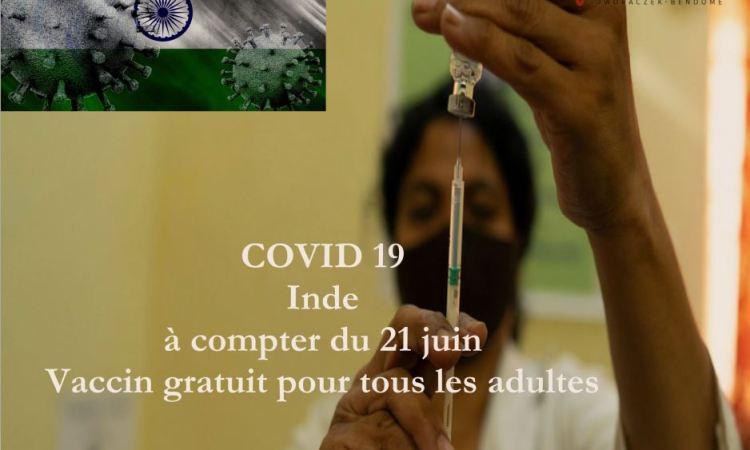 Covid 19 : Inde, à compter du 21 juin, vaccin gratuit pour tous les adultes