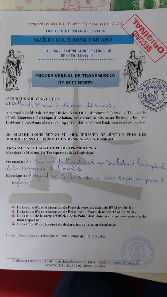 Gabon - Huissier de justice - Requête auprès du Tribunal administratif de Libreville, déposée par Serge Olivier Nzikoue