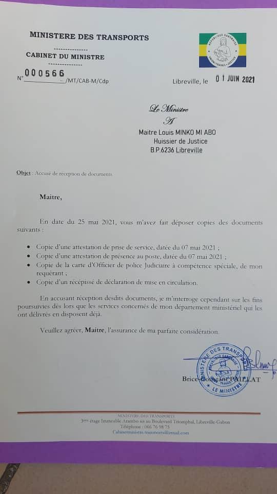 Gabon ministère des transports – Document reconnaissant l'ensemble des parcours de Serge Olivier Nzikoue