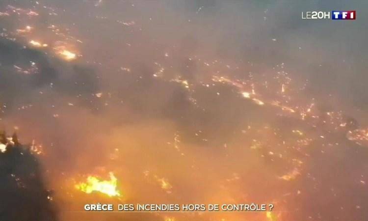 Incendie, les feux de forêt violents en Grèce.