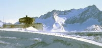 Allalin 3'500m mit dem hˆchsten Drehrestaurant und der grˆssten Eisgrotte der Welt. Allalin 3í500m with the worlds highest revolving restaurant and the biggest ice grotto. Allalin 3í500 avec le plus haut restaurant circulaire et le plus grand pavillon de glace du monde. (PHOTOPRESS/Saas-Fee)