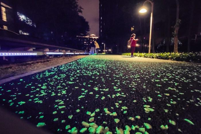 2020桃園新夜拍景點!桃園最新藍眼淚 蓄光石星光步道,110公尺陸地版綠眼淚