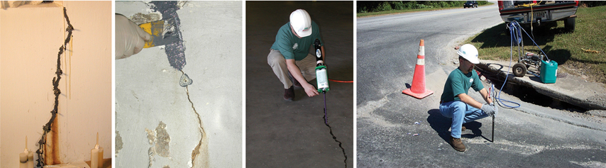 Dwyer's team filling cracks with polyurethane and epoxy injection fills to seal cracks in concrete.