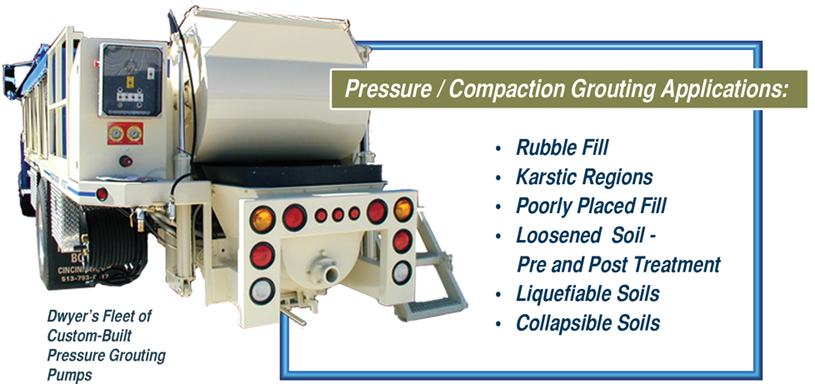Dwyer's fleet of custom-built pressure grouting pumps & applications.