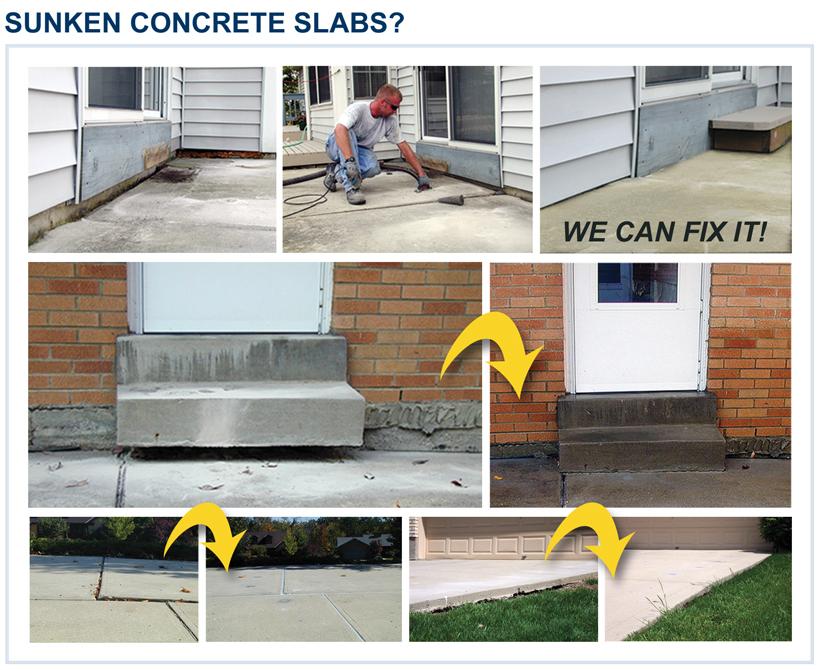 Dwyer Company in action fixing sunken concrete slabs on residential sunken concrete.