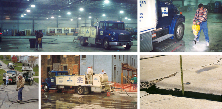 Lifting sunken concrete at parking lots, warehouses, streets, garages and much more!