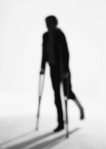 Crutches shadow person