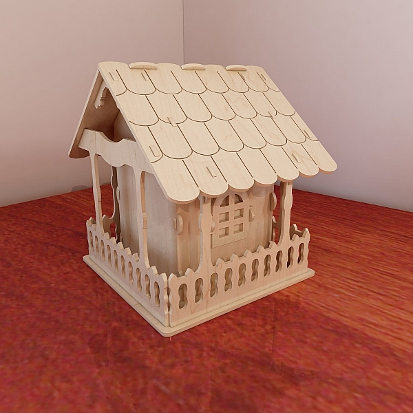 Big Wooden Birdhouse Design Vector Projects For CNC