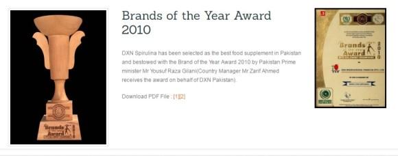 Az év táplálékkiegészítője díj a DXN Spirulinának.