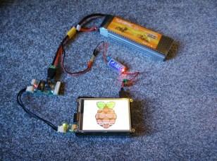 5500 mAh LiPo battery powering Raspberry Pi 2 and Robotis hardware.