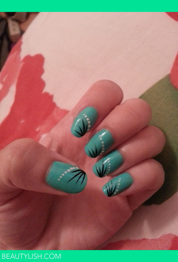 Mint Turquoise With A Simple Nail Art Design Tara M S