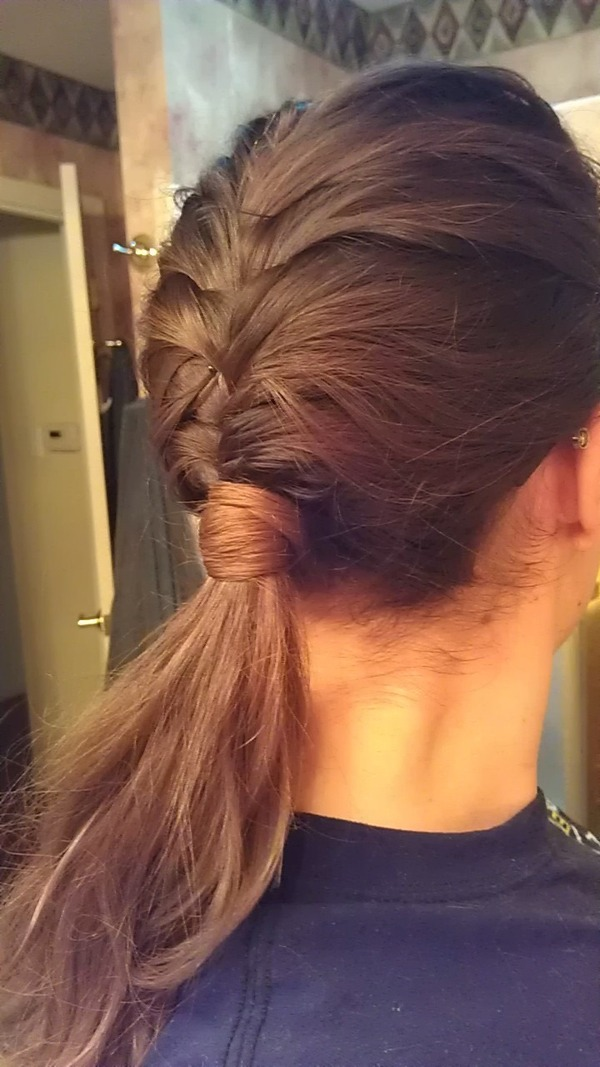 French Fishtail Braid Into Low Ponytail With Hair Wrapped