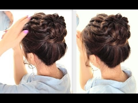 STARBURST BRAIDED BUN HAIRSTYLE CUTE SUMMER BRAIDS