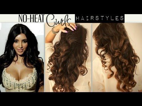 kim kardashian big curly no heat curls waves cute school hairstyles for medium long hair