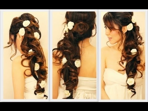 voluminous home ing wedding hair tutorial elegant curly half up updo hairstyles for long