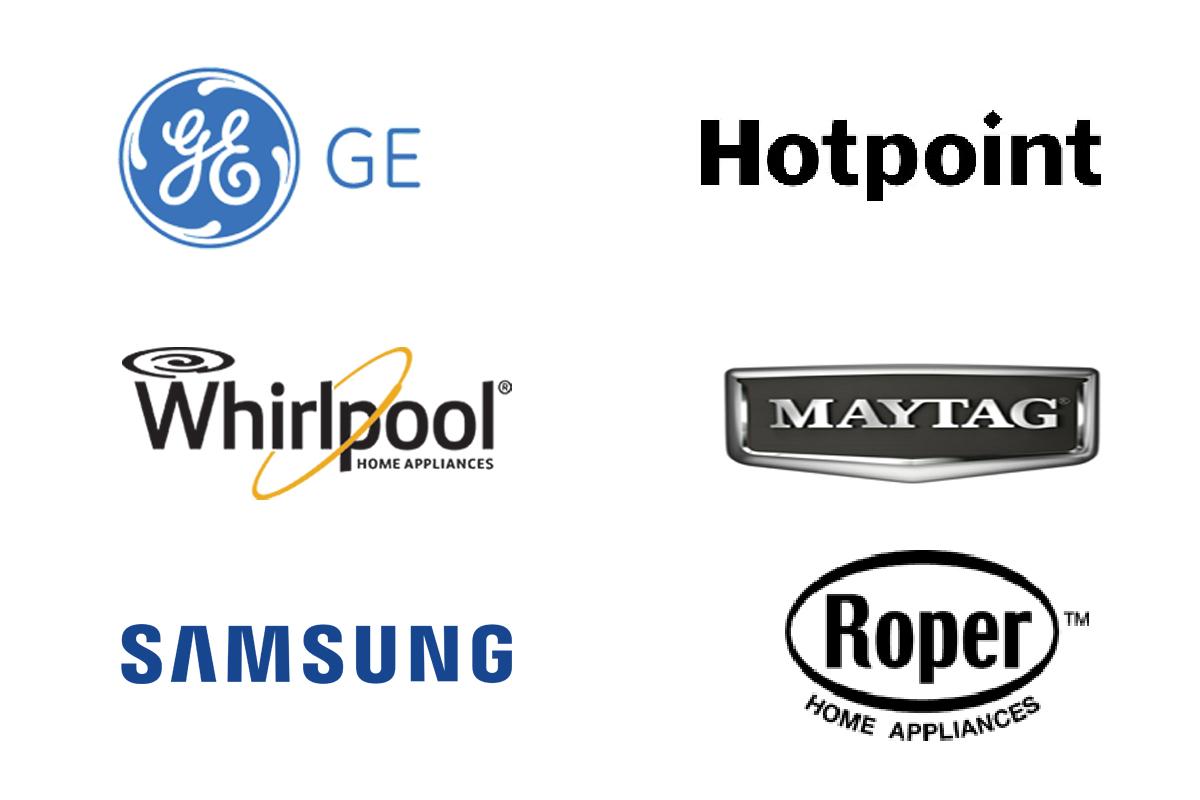 Whirlpool, GE, Hotpoint, Roper, Samsung, GE