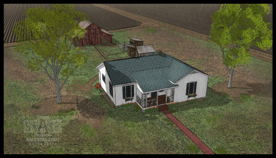 Illustration of the Johnny Cash Boyhood Home (Glenn Gardiner, Center for Digital Initiatives, Arkansas State University)