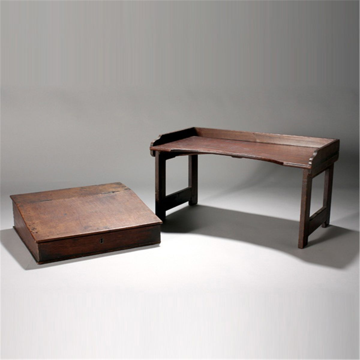 Victorian Lap Desk Together With A Folding Tray