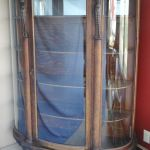 Oak Curved Glass China Cabinet Curved Door Panels Carved Lions Heads Oak Shelves Very Nice