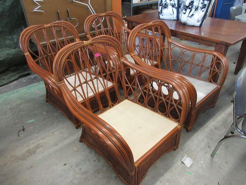 4 large bamboo patio chairs