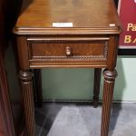 Antique Walnut Night Stand W Mother Of Pearl Accent