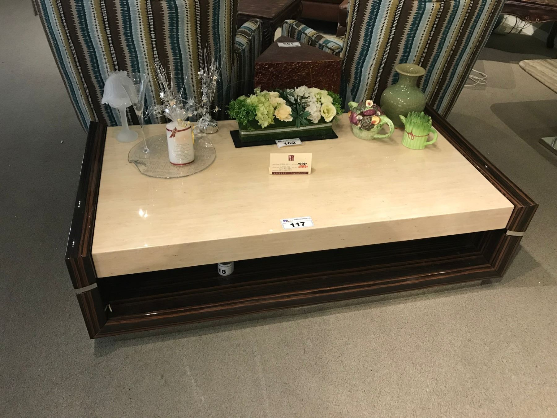 zebra wood and granite top coffee table