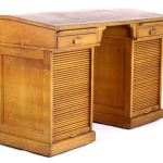 1933 Helena Mt Tiger Oak Roll Top Drafting Desk