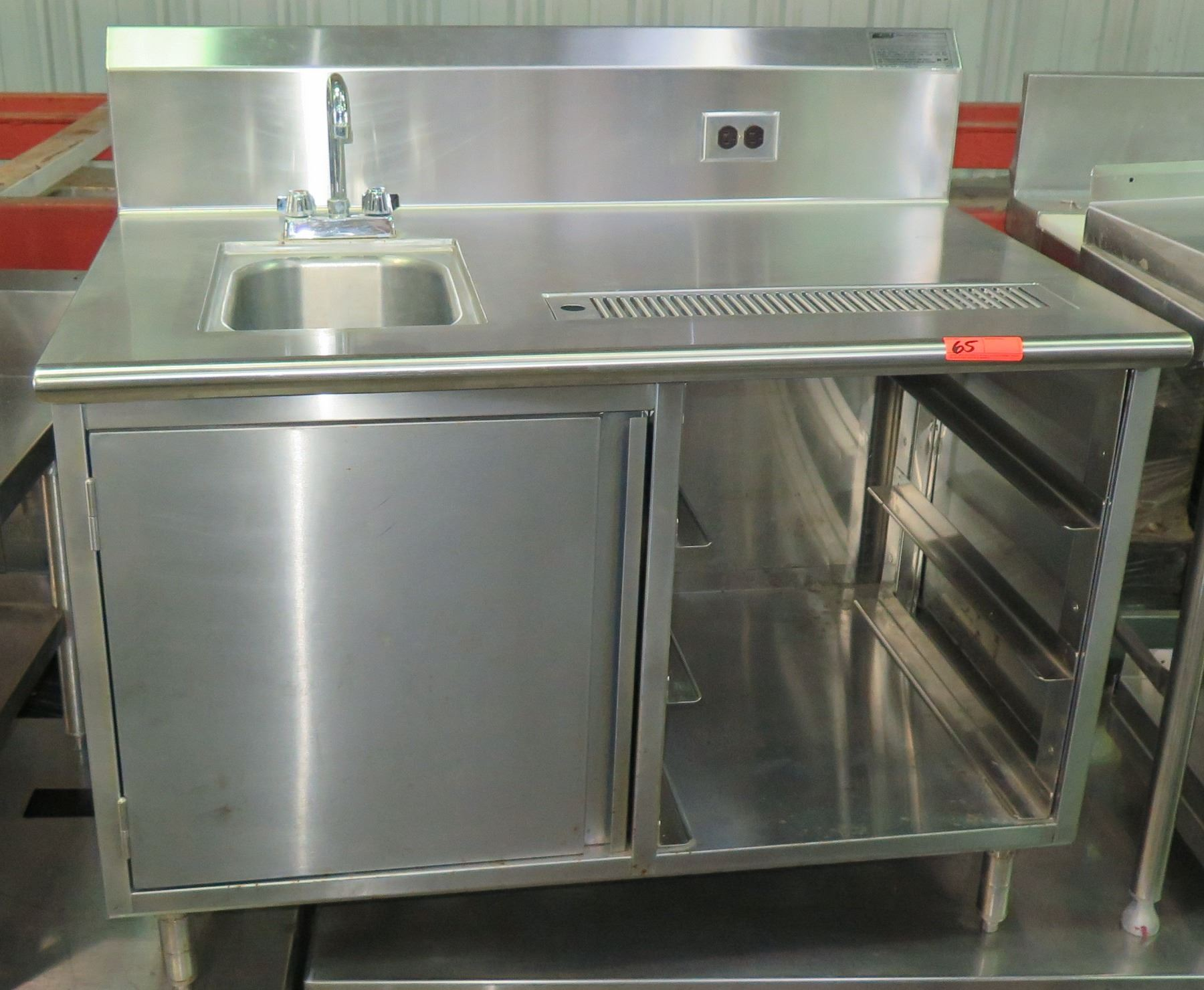 stainless prep table w sink tray