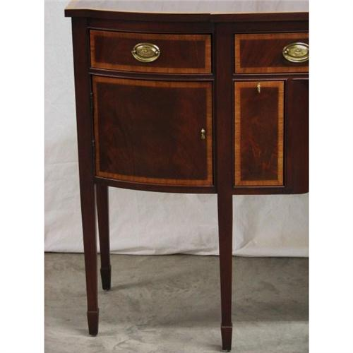 ethan allen chippendale style mahogany banded sideboard