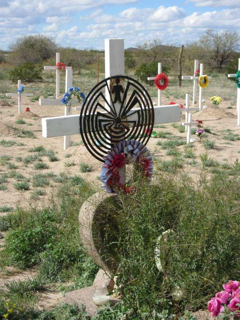 Tohono O'odham symbol of life Chuichu West Cemetery Casa Grande AZ