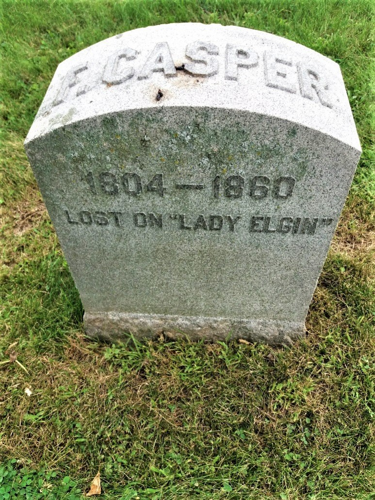 Gravemarker for F. Casper, lost on the Lady Elgin in 1860 - Calvary Cemetery Milwaukee