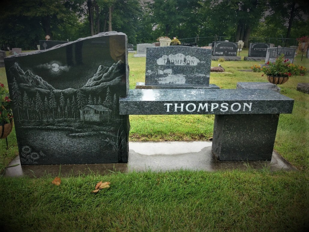 Thompson gravestone South Green Lake Cemetery Chisago MN