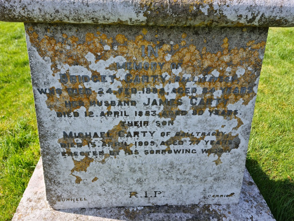 Carty headstone gravemarker Ballinafagh Church Co Kildare