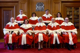 The Supreme Court justices pose for a group photo during the official welcoming ceremony for Supreme Court of Canada Justice Suzanne Cote at the Supreme Court Tuesday Feb.10, 2015 in Ottawa. Top row (left to right) Justice Clement Gascon, Justice Andromache Karakatsanis, Justice Richard Wagner, and Justice Suzanne Cote. Bottom row: (left to right) Justice Thomas Albert, Justice Rosalie Silberman Abella, Justice Beverly McLachlin, Justice Marshall Rothstein and Justice Michael Moldaver. THE CANADIAN PRESS/Adrian Wyld // Na021415-coyne