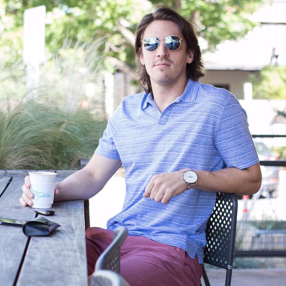 @Dylanbenjam Instagram Male Fashion Banana Republic Blue SHirt and Ted Baker Red Shorts