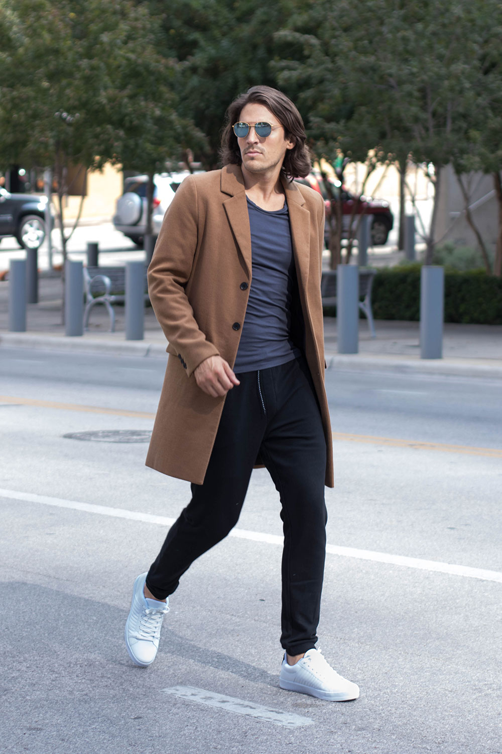 Mens Camel Overcoat with Grey Tee, Black Joggers and White Sneakers 2