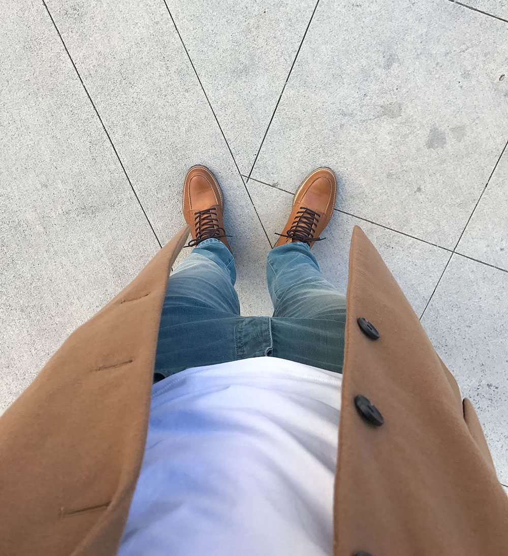 Mens Camel Overcoat with Jeans and Brown Shoes 4