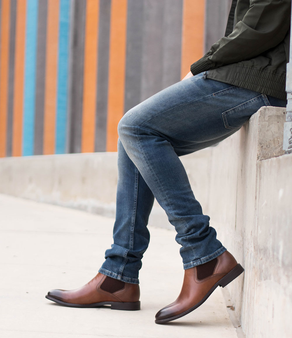 Steve Madden Brown Chelsea Boots with Jeans