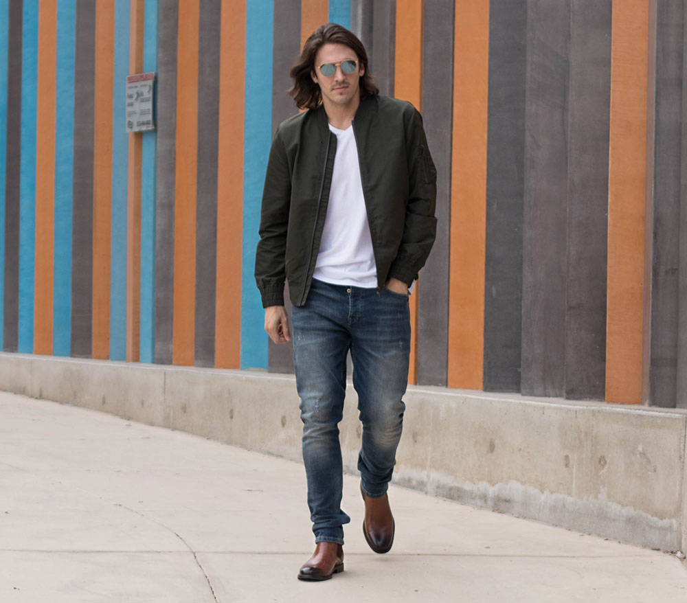 Steve Madden Brown Chelsea Boots with Jeans, White Shirt and Green Bomber Jacket 2