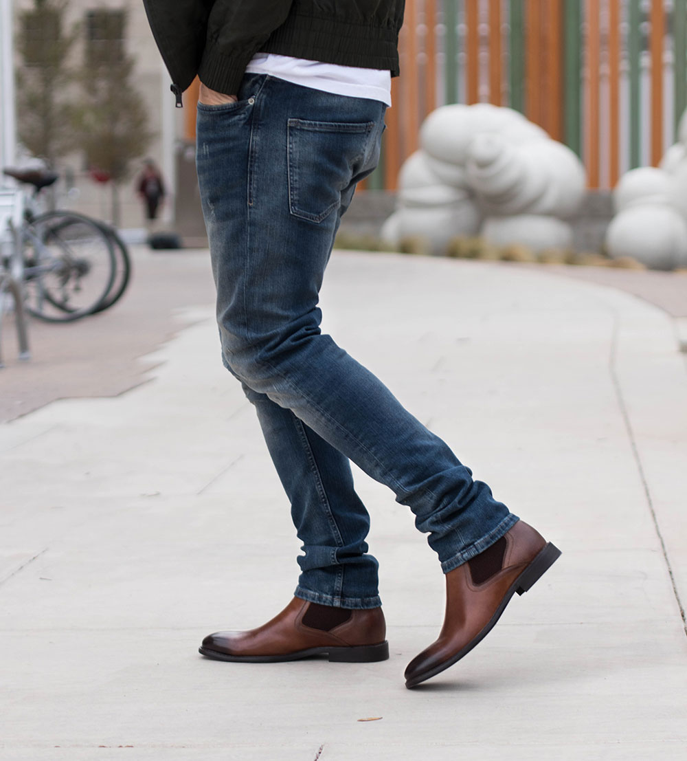 Steve Madden Brown Chelsea Boots with Jeans 2