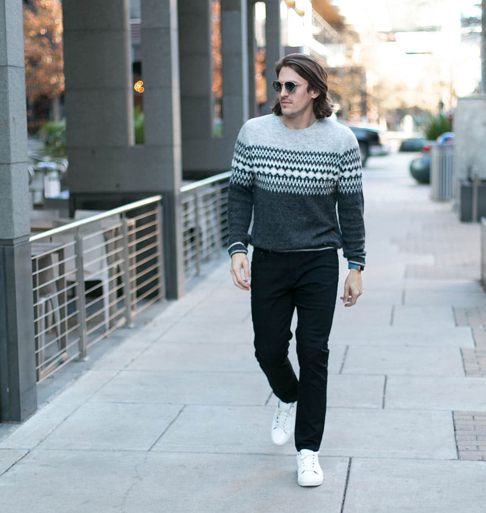 Grey Sweater, Black Jeans and White Sneakers
