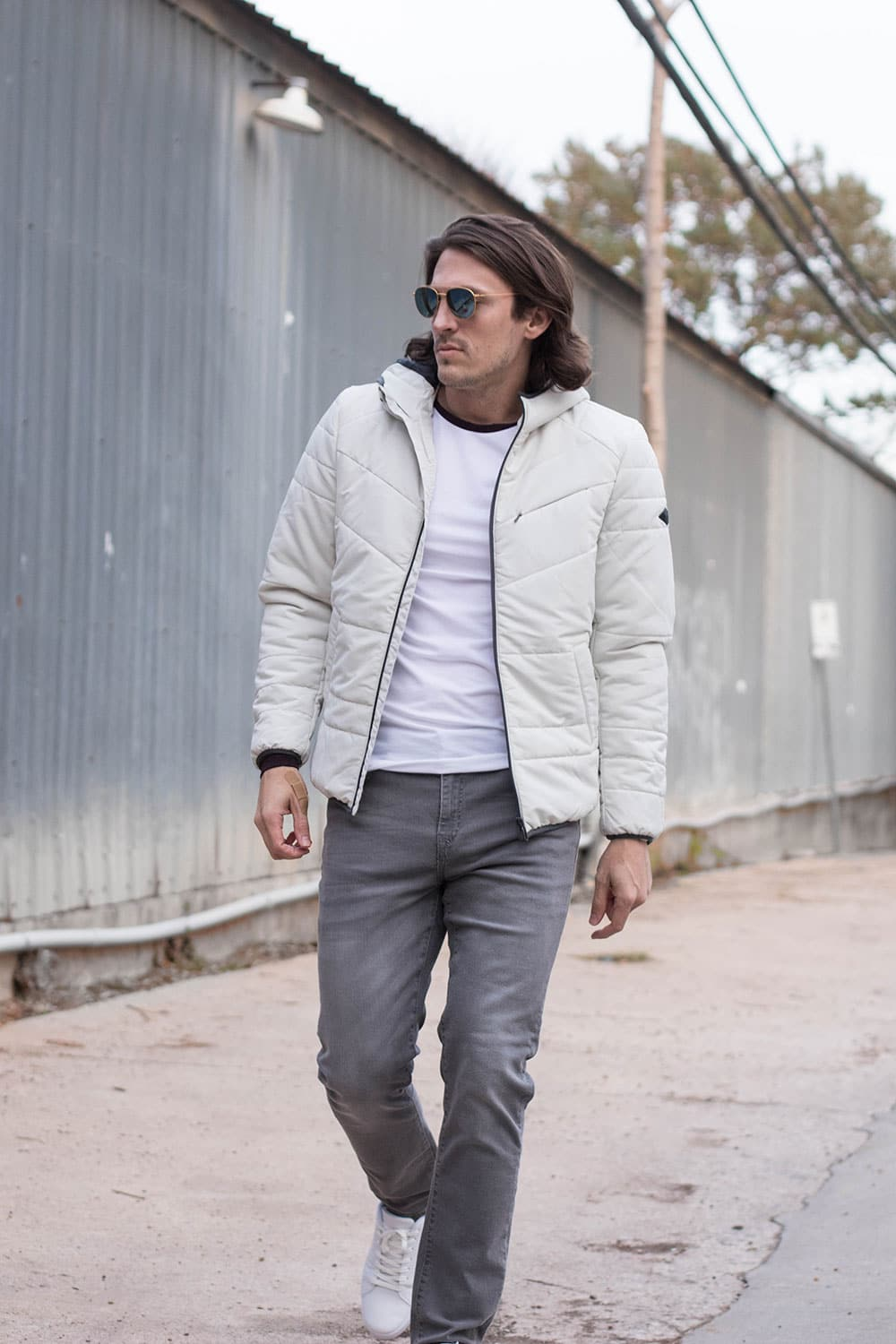 White Coat, Grey Jeans, Raglan Tee and and White Sneakers