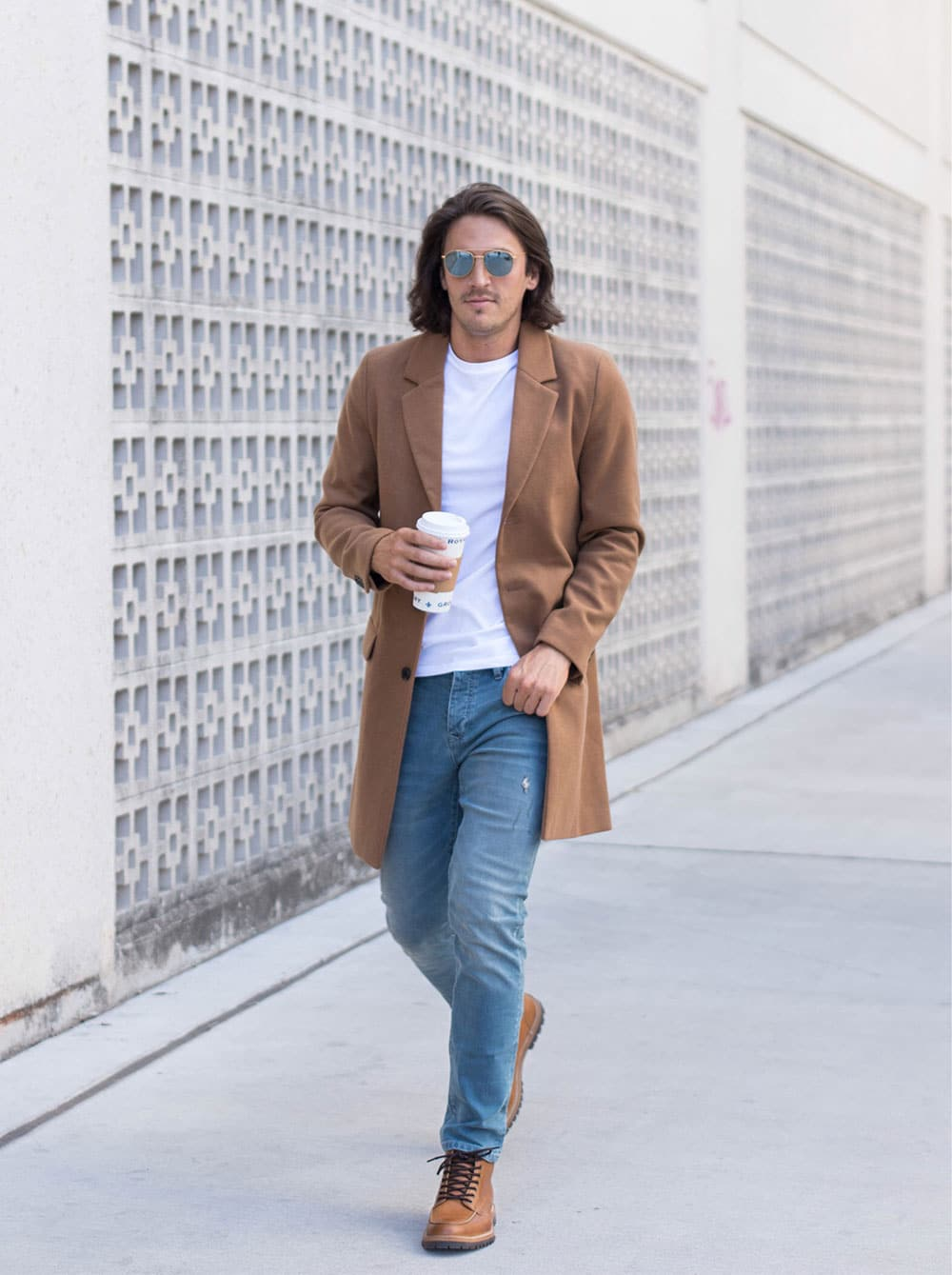 Camel Overcoat with White Tee, Jeans and Boots