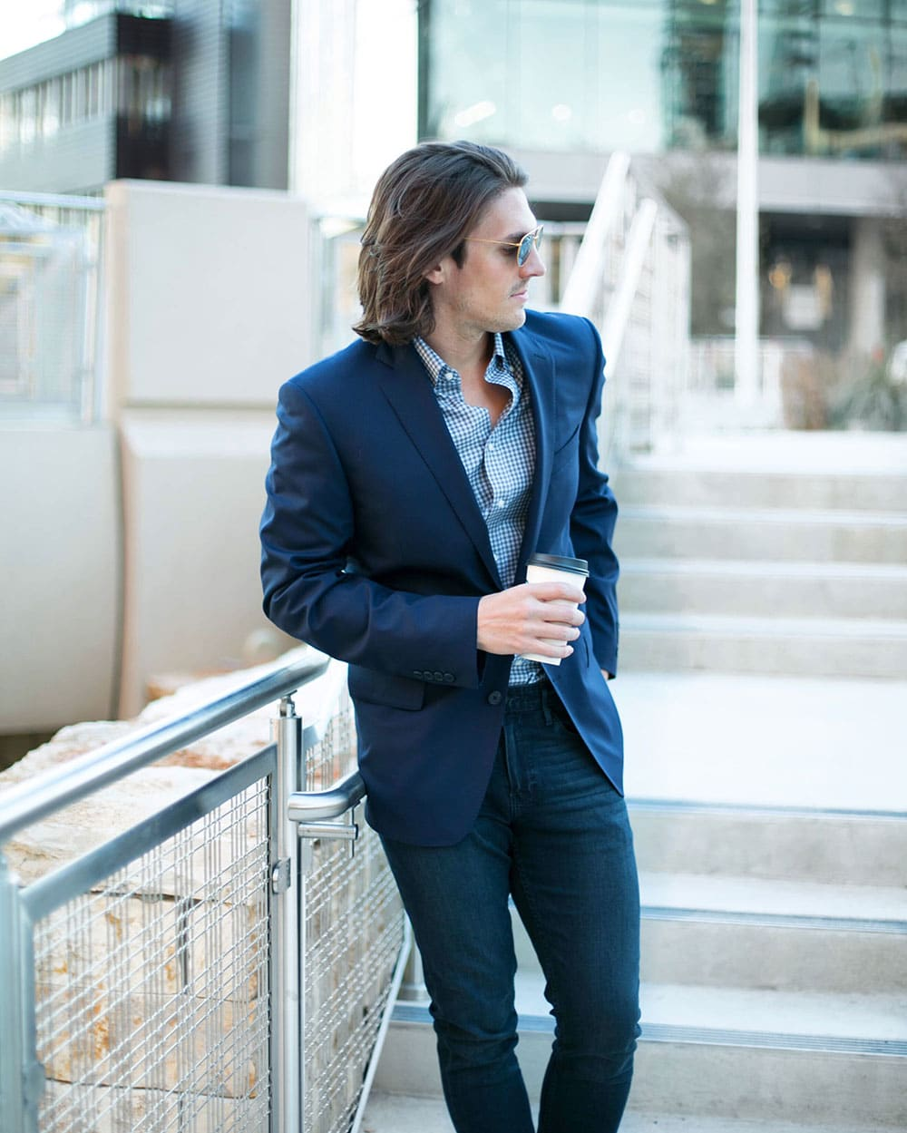 Navy suit with Gingham blue non iron dress shirt and burnished toe chelsea boots 2