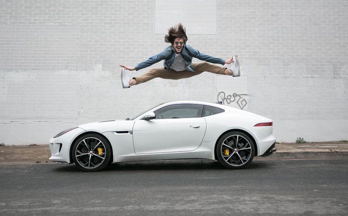 Jumping over Jaguar F-Type R