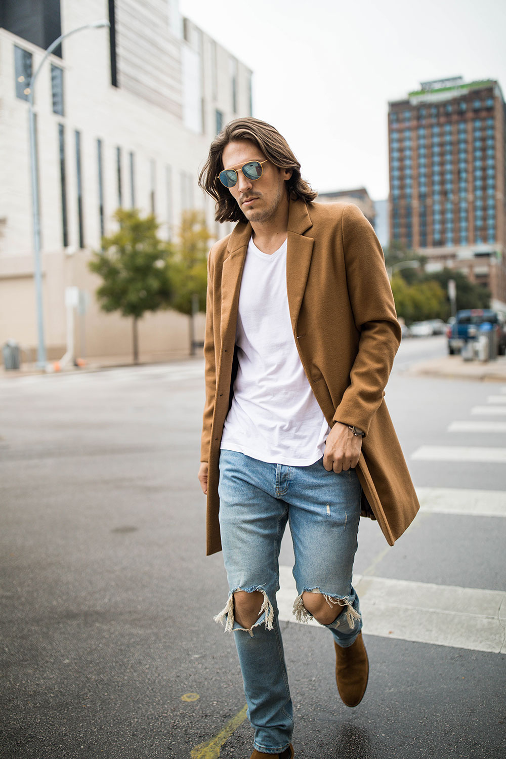 Men's Camel Coat With Distressed Denim and Brown Suede Chelsea Boots 3