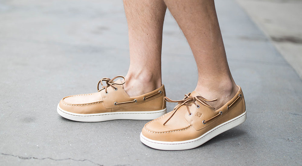 Brown Sperry boat shoe close up