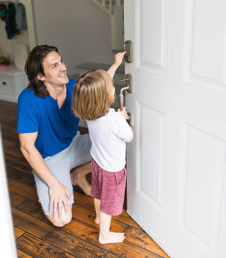 Dylan and Noah with Schlage Encode wifi lock