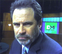 Dennis Miller on the set of his show