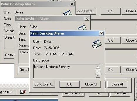 palm desktop alarm cascade